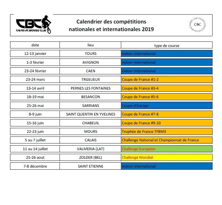 Calendrier Bmx 2019.Calendrier 2019 Bmx Cavignac